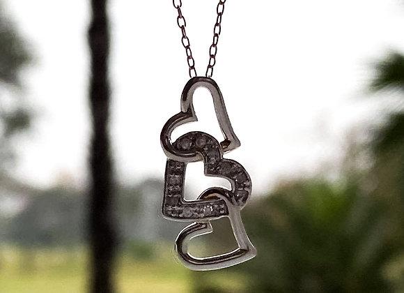 Collar 3 corazones Diamond