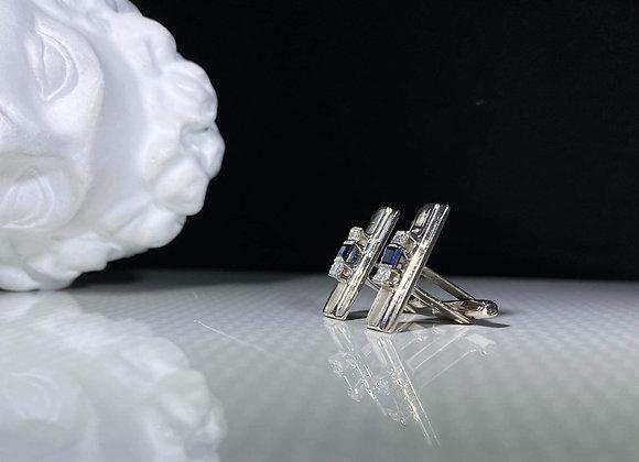Gemelos zafiro y diamantes