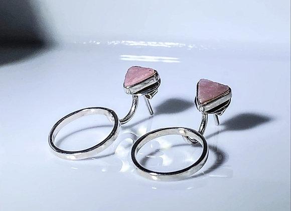 Aretes opalo rosa special al natural