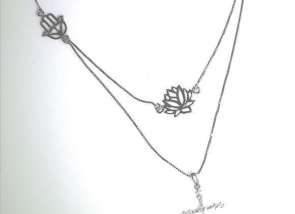 Collar Temático en oro blanco y diamantes baguette