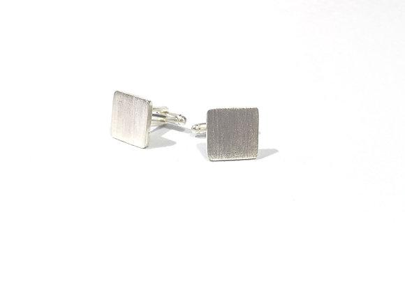 Gemelos square satinado, silver