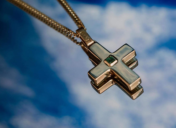Collar cruz esmeralda square