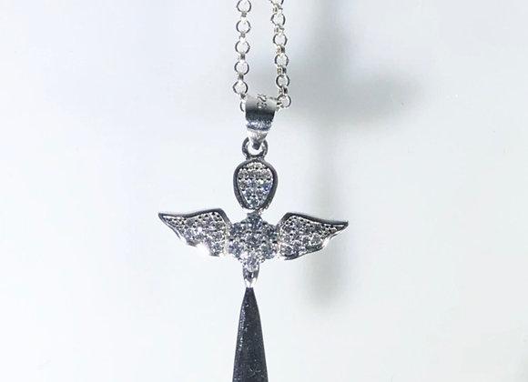 Collar cruz Angel full incrustaciones