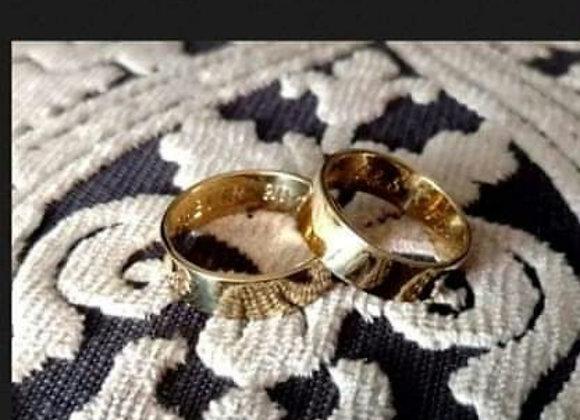 Aros De Matrimonio En Oro Amarillo