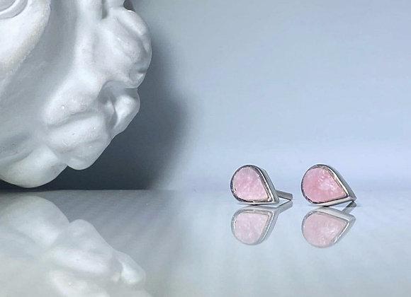 Arete opalo rosa gota petit al natural