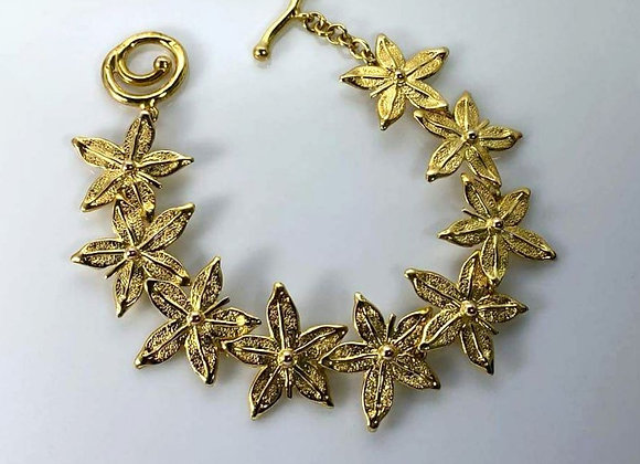 Pulsera flor dorada classic enchapado en oro
