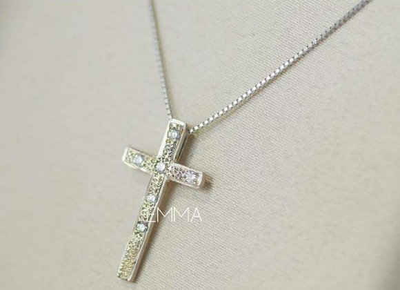 Collar cruz y diamantes petit