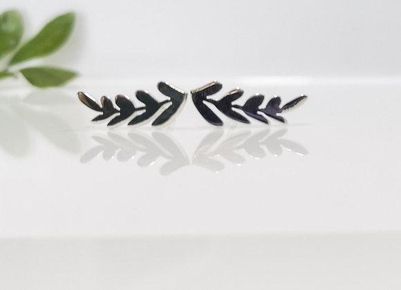 Aretes Laureles corazón. 5 cmm