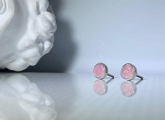 Aretes opalo rosa petit redondo al natural