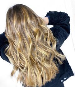 Full balayage, gloss, haircut, & style by Sara