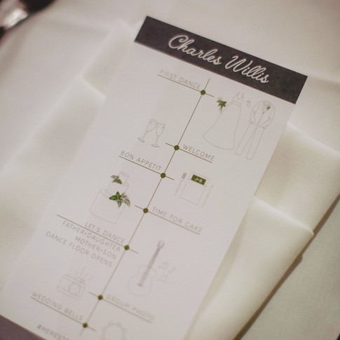 GRAPHIC DESIGN | CUSTOM PLACE CARDS + TIMELINES