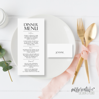 Dinner Menu and Name Place Card Designs