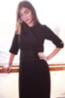 Black long thobe with black draped harne