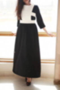 Black thobe long dress with off-white as