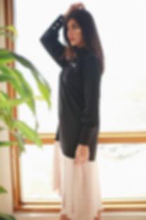 Black dress with pink laser cut