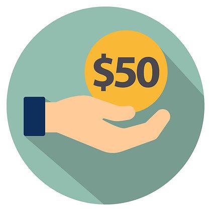 Donation: $50