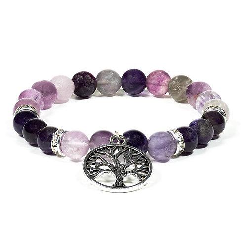 Bracelet Fluorite / Améthyste avec arbre de vie