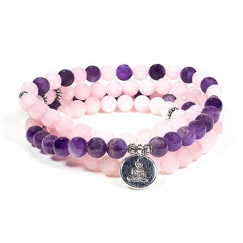 Mala quartz rose / améthyste Bouddha