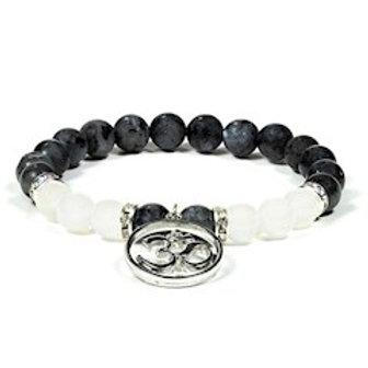 Bracelet Labradorite / Agate blanche avecOM