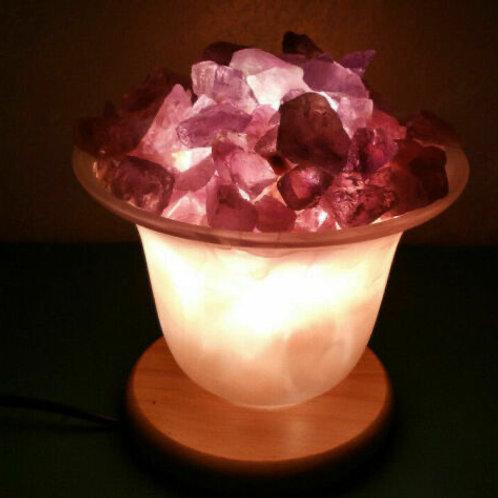 Lampe cristaux d'Améthyste et sel
