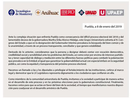 Consorcio Universitario exhorta al H. Congreso del Estado de Puebla