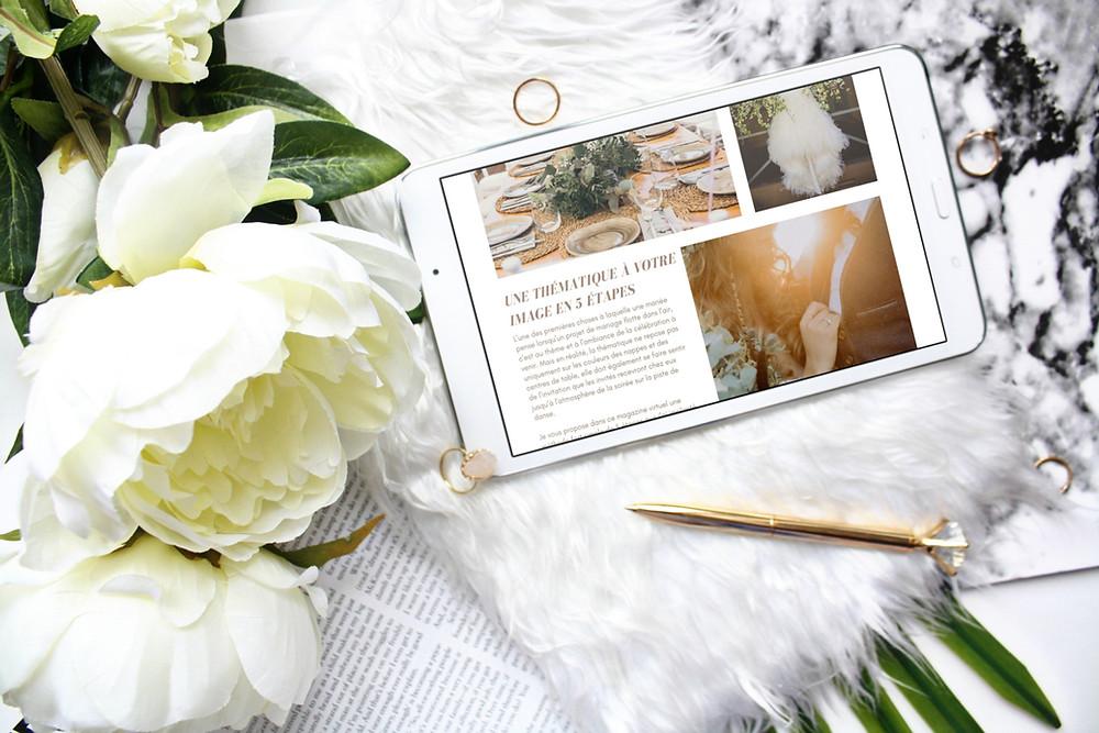 Téléchargez gratuitement un magazine virtuel mariage de 10 pages pour vous accompagner dans l'élaboration du thème de votre mariage et l'organisation de votre mariage.