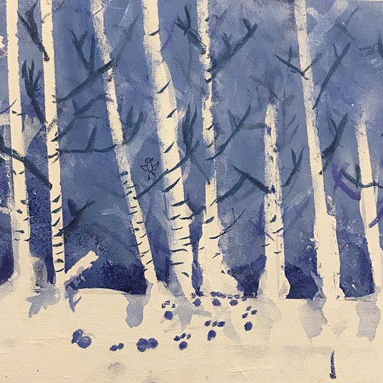 Winter trees made by 7 year old students
