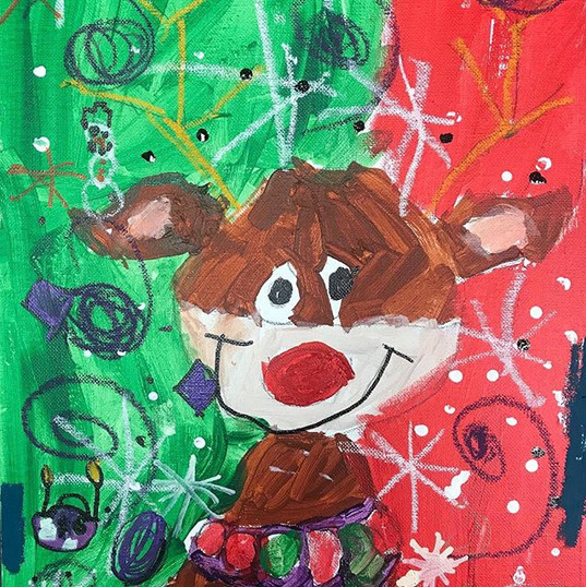 Reindeer painting done by 5 year old Abi
