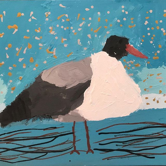 """""""Seagull"""" acrylic painting made by Sophi"""