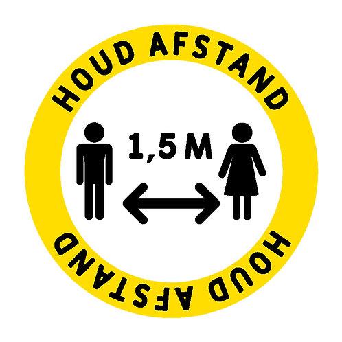 Houd 1,5 meter afstand sticker rond 10-15-20-30cm.