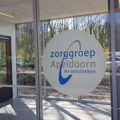 Zorggroep Apeldoorn full color print op glas-etched folie