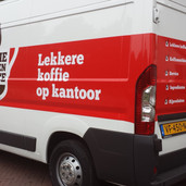 Warme dranken service bedrijfswagen reclame