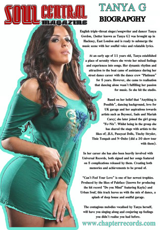 TANYA G'S ARTICLE IN SOUL CENTRAL MAGAZINE