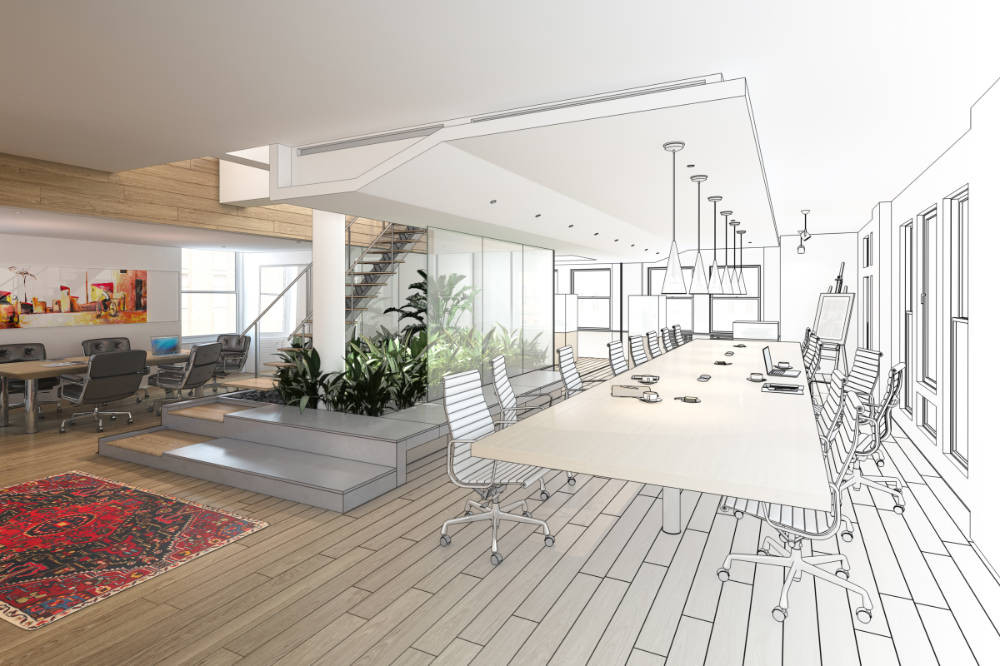 an office refurbishment project design transforms into a completed workspace