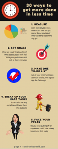 Time management infographic - 30 ways to get more done in less time