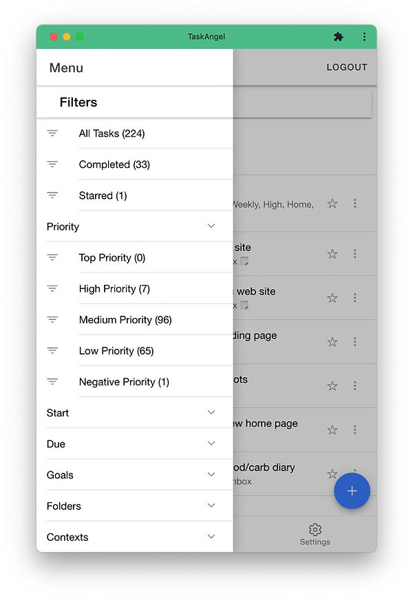 Use filters to bring your to-do list down to a manageable size