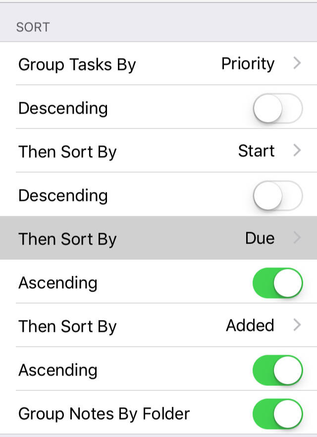 Group and sort settings