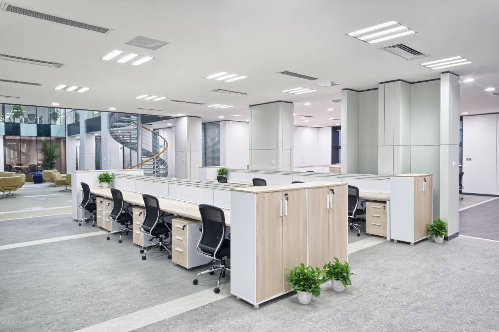 an office refurbishment project is completed and the workspace is ready for the client to move back in