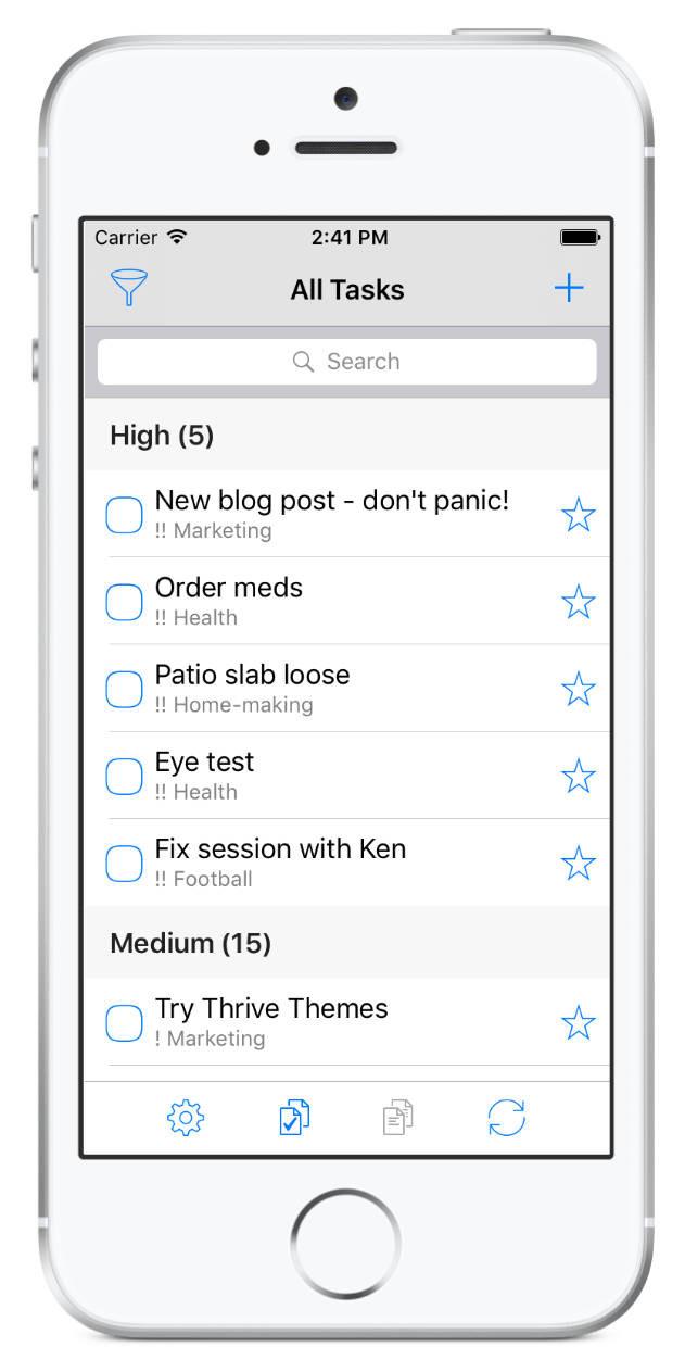 MYN - tasks grouped by priority