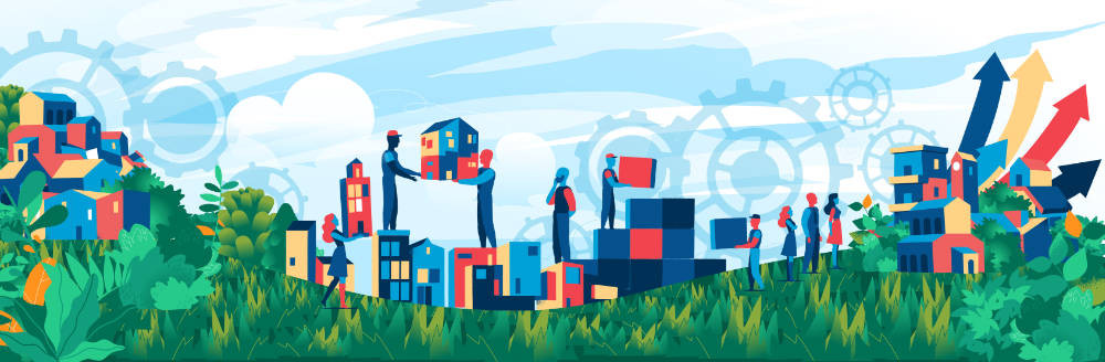 abstract illustration to show sustainable construction.  People are moving buildings  around a lush, green landscape