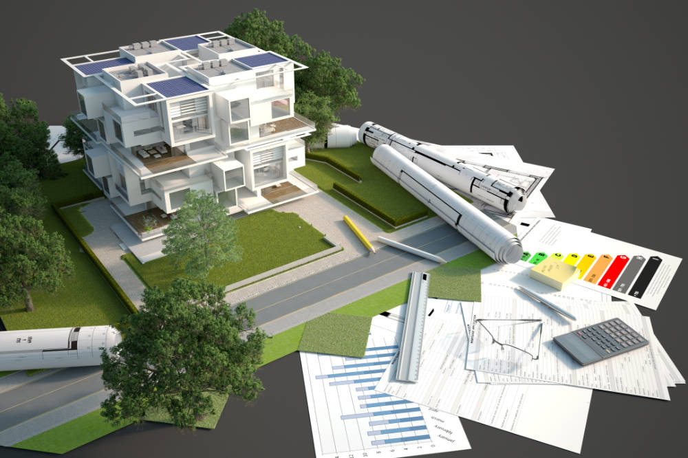 a 3D model of a sustainable building. It is surrounded by plans and charts that demonstrate the intention to use sustainable construction methods