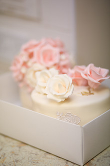 Wedding cake in its cake box.