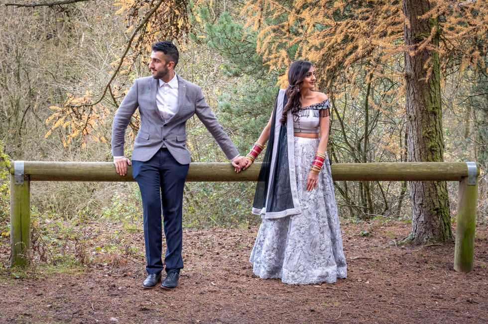 Asian couple at Irchester Country Park, wedding photography Bedfordshire.