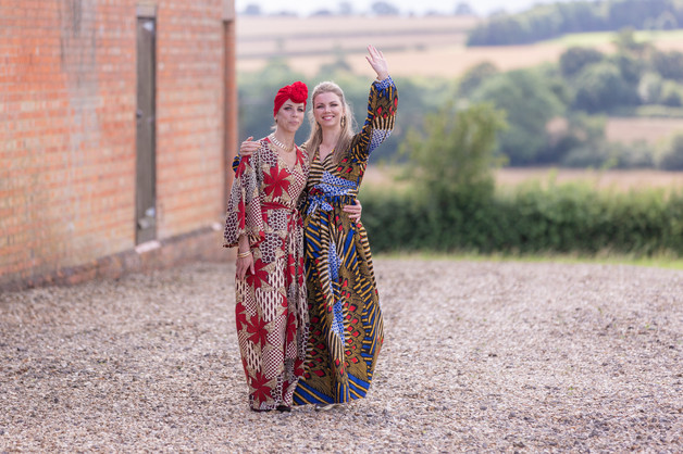 Two ladies in colourful national costume