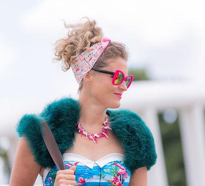 Lady in Flamingo styled clothing