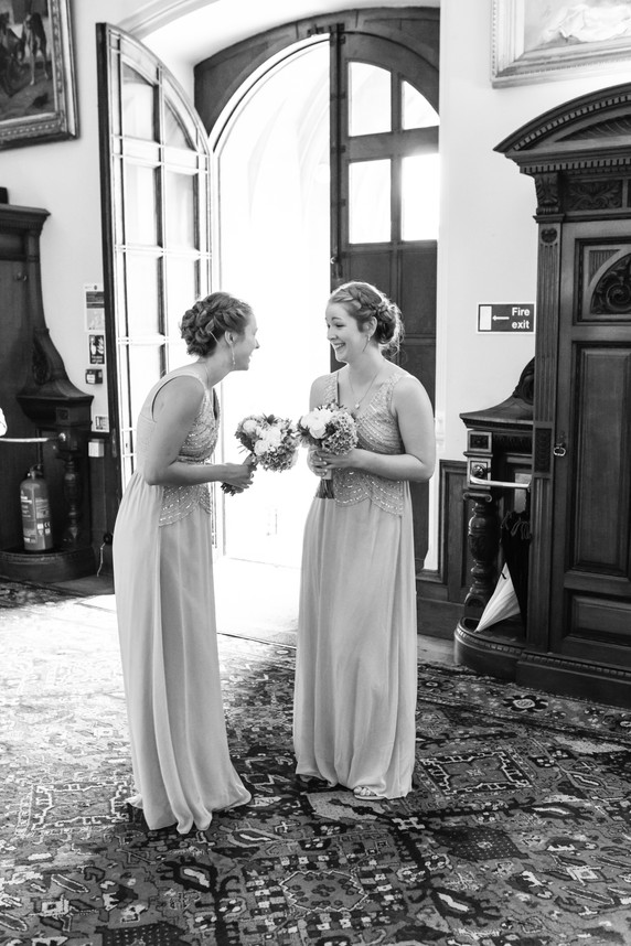 Bridesmaids waiting for the Bride in an English country Manor House.
