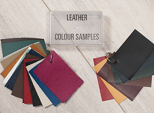 Various leather samples in differunt colours for wedding albums.