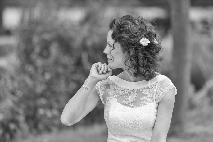 Bride looking into the distance.