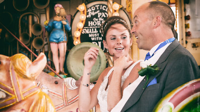 Bride and Groom on a carousel in Stockport UK.
