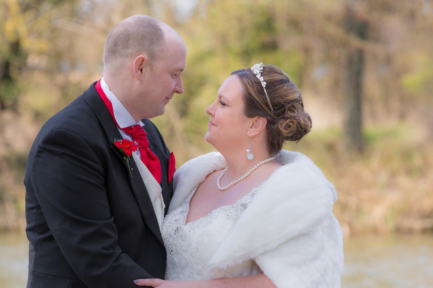 Bride and Groom at The Barns Hotel, Bedford.